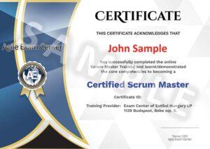 Agile Exam Center - Certificate Minta